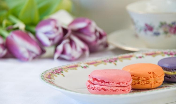 Macarons at Cherries, Blueberries and the Slices of candied orange peel