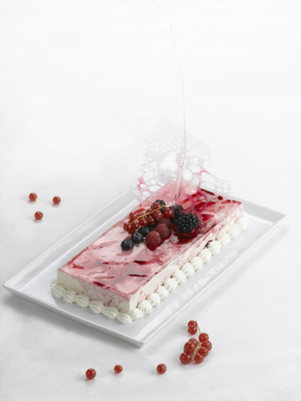 Yoghurt and black cherry Semifreddo (ice-cream cake)